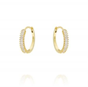 Hoop earrings with baguette cubic zirconia - small size - gold plated