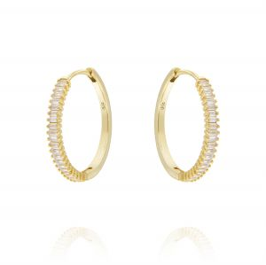 Hoop earrings with baguette cubic zirconia - big size - gold plated