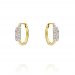 Hoop earrings with cubic zirconia inset - gold plated