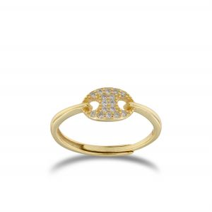 Puffed mariner ring with cubic zirconia - gold plated