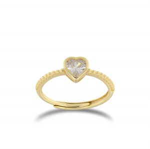Heart shaped cubic zirconia ring - gold plated
