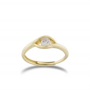 Eye ring with cubic zirconia pupil - gold plated
