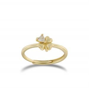 Four-leaf clover ring with cubic zirconia - gold plated