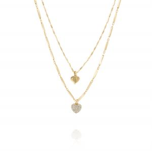 Double chain inserts necklace with hanging hearts - gold plated