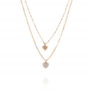 Double chain inserts necklace with hanging hearts - rosé plated