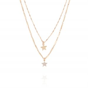 Double chain inserts necklace with hanging stars - rosé plated