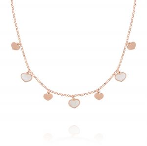 Necklace with hanging glossy and mother of pearl hearts - rosé plated