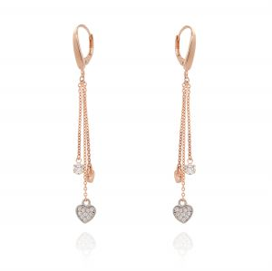Leverback earrings with three chains and pendants - rosé plated