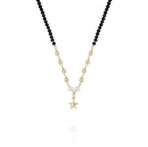 Black stones necklace with glossy balls pearls and star - gold plated