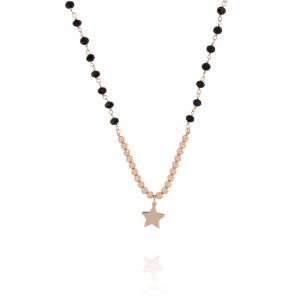 Black stones necklace with glossy balls and star - rosé plated