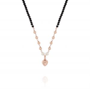 Black stones necklace with glossy balls pearls and heart - rosé plated