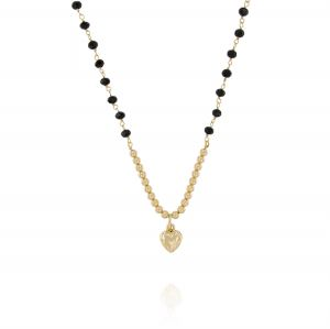 Black stones necklace with glossy balls and heart - gold plated