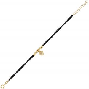 Black stones bracelet with glossy balls and heart - gold plated