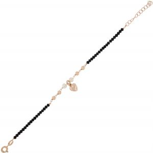 Black stones bracelet with glossy balls, pearls and heart - rosé plated