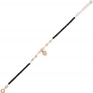 Bracciale con pietre nere, palline lucide, perle e cuore - placcato rosé