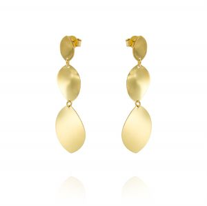 Earrings with three wavy ovals - gold plated