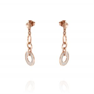 Earrings with hanging round mother of pearl - rosé plated