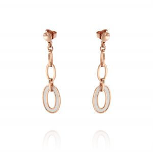 Earrings with oval hanging mother of pearl - rosé plated