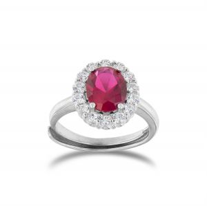 Royal ring with oval red stone and cubic zirconia