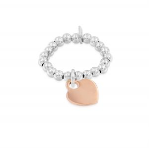 Elastic ring with small heart - rosé