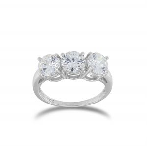 Trilogy ring with cubic zirconia - big