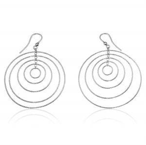 Concentric rings earrings with diamond cut wire