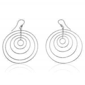 Orecchini ad amo con anelli concentrici a filo diamantato - colore variabile