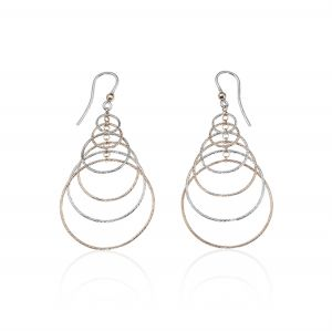 Rings earrings with diamond cut rings - color variable
