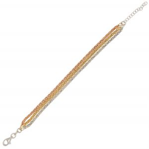 Three fope chains bracelet with three colors - 3 mm