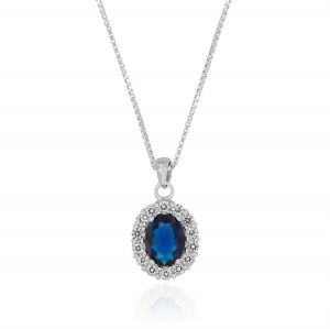Royal necklace with oval stone – color variable