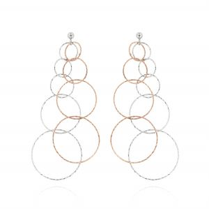 Orecchini con anelli a filo diamantato - bicolore