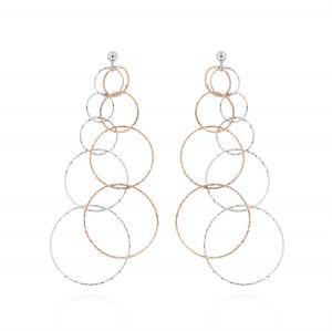Rings earrings with diamond cut - bicolored