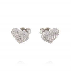 Heart earrings with cubic zirconia