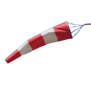 Manica a vento nylon bianca e rossa 4 mt