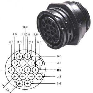 Connettore circolare AMP CPC - 16 poli - Maschio